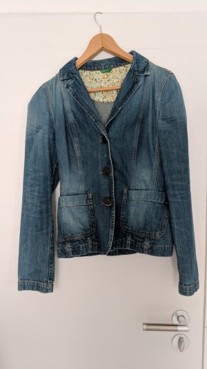 Benetton Denim Blazer steel blue-cornflower blue cotton