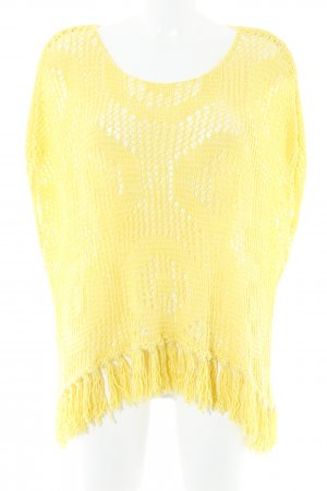 United Colors of Benetton Poncho gelb Lochstrickmuster Boho-Look