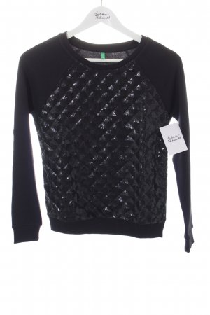 United Colors of Benetton Rundhalspullover schwarz Steppmuster Casual-Look