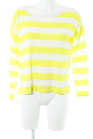 United Colors of Benetton Rundhalspullover weiß-neongelb Streifenmuster