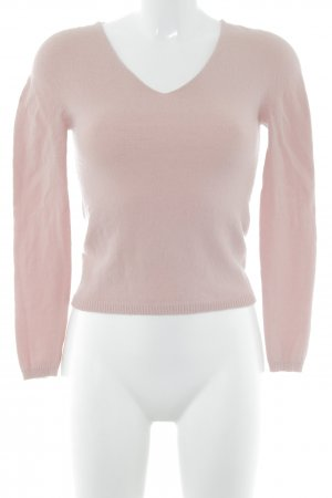 United Colors of Benetton Pull col en V vieux rose style minimaliste