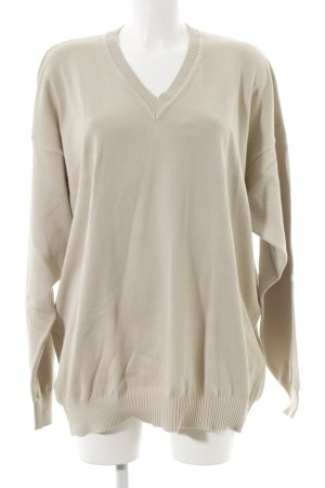 United Colors of Benetton V-Ausschnitt-Pullover creme schlichter Stil