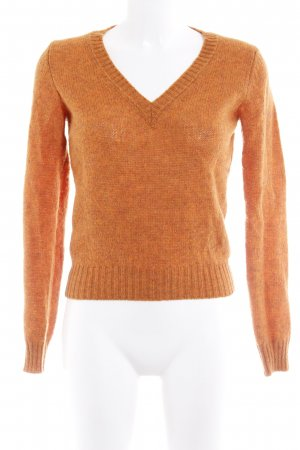 United Colors of Benetton V-Ausschnitt-Pullover dunkelorange Casual-Look