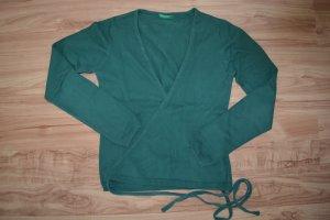 Benetton Veste cache-coeur vert forêt coton