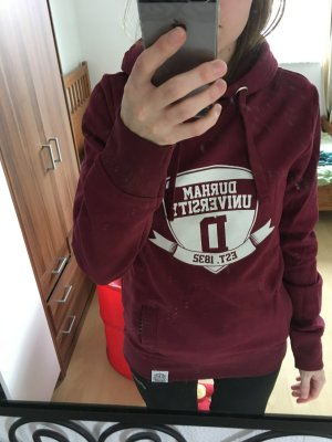 Capuchon sweater bordeaux-wit