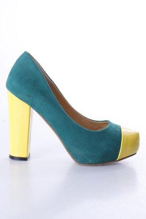 Plateau-Pumps grün-gelb