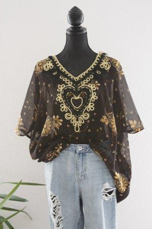 Unknown Tunika-Bluse mit Paillettenverzierung