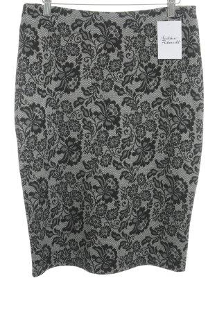 UNQ Bleistiftrock schwarz-weiß Blumenmuster Business-Look