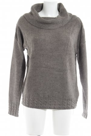 UNQ Strickpullover graubraun Zopfmuster Casual-Look