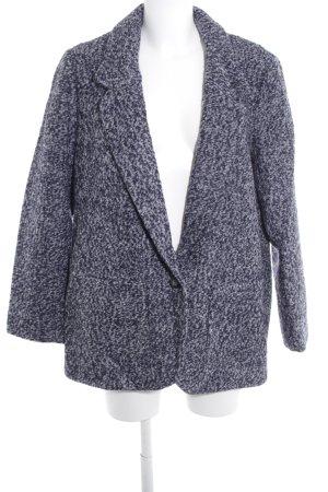 UNQ Wollmantel dunkelblau-wollweiß Farbtupfermuster klassischer Stil