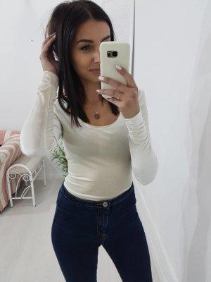 Blusa tipo body blanco puro-crema
