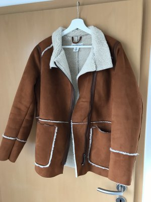 H&M Flight Jacket cognac-coloured-natural white