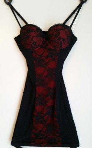 Négligé noir-rouge tissu mixte