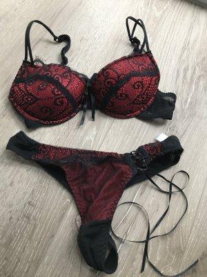 Unterwäsche Set Rot-Schwarz mit spitze