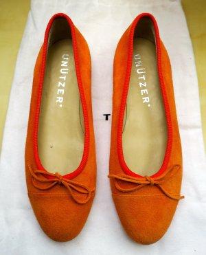 Unützer Bailarinas plegables naranja Cuero