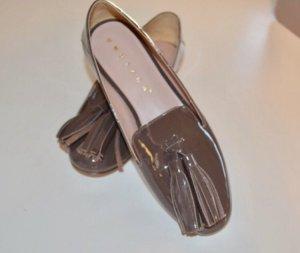Unützer Bailarinas de charol con tacón ocre-marrón grisáceo