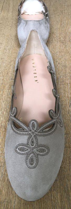 Unützer Ballerinas Wildleder beige grau greige