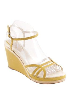 Unützer Zapatos de cuña amarillo limón-beige claro look casual