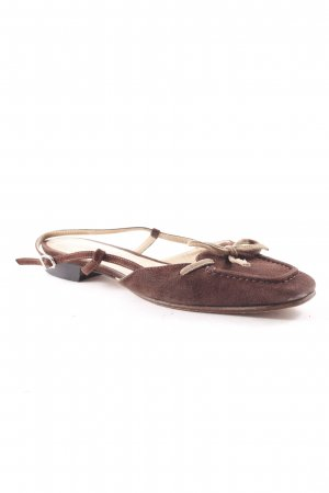Unützer Sandalias de tacón de tiras marrón oscuro-beige look casual