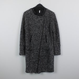 Coat black-white polyester