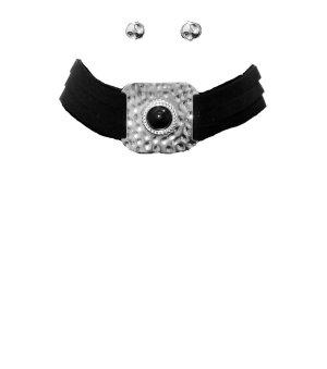 Collar negro-color plata Imitación de cuero
