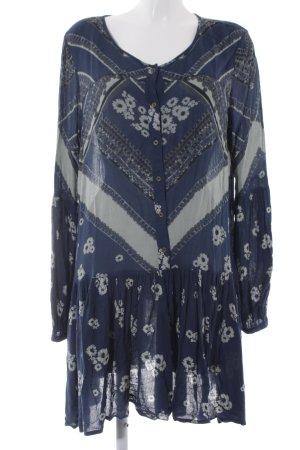 Urban Outfitters Blusenkleid dunkelblau-blassblau Mustermix Boho-Look
