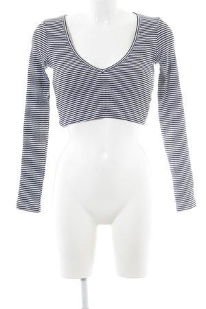 Urban Outfitters Cropped Shirt schwarz-weiß Streifenmuster Casual-Look