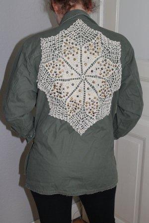 Urban Outfitters Jacke Khaki Oversize Spitze vintage boho