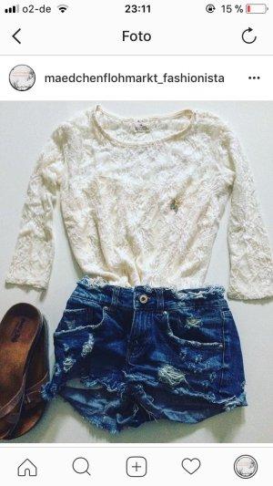 Urban Outfitters Camisa de cuello barco crema-blanco puro tejido mezclado