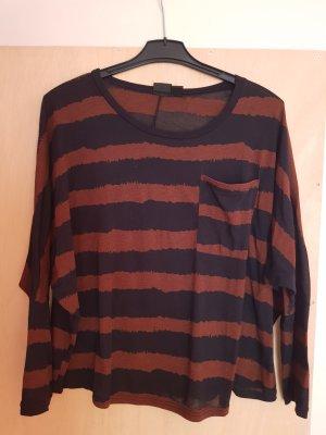 Urban Outfitters Sparkle & Fade Shirt Oberteil Top Schwarz Braun Gestreift Größe L