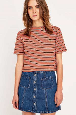 Urban Outfitters Striped Turtleneck Cropped Top