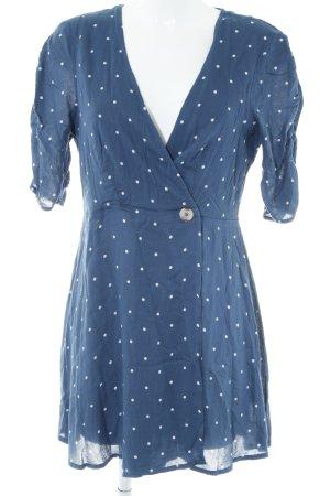 Urban Outfitters Wickelkleid weiß-dunkelblau Punktemuster Vintage-Look