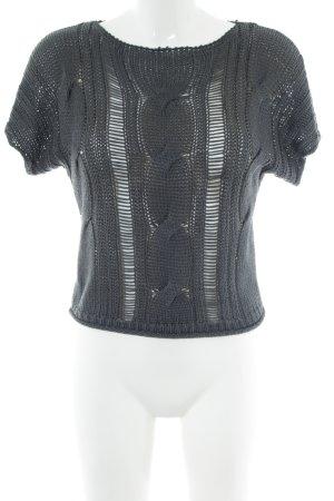 Urban Surface Sweater met korte mouwen lichtgrijs kabel steek casual uitstraling