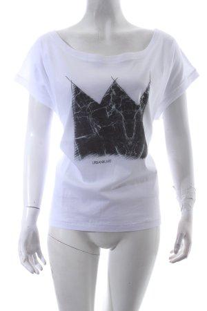URBANIKART Oversized Shirt weiß-schwarz Motivdruck Casual-Look