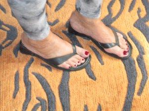 Janet D T-Strap Sandals black leather