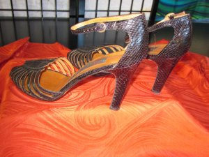 High Heel Sandal black reptile leather