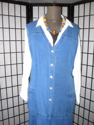 THEA 42 plus Denim Vest blue textile fiber