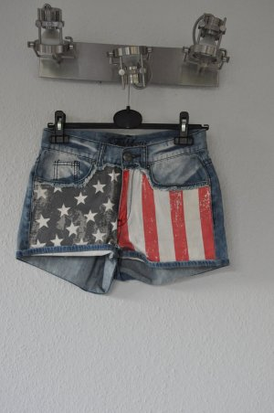 USA Flagge Print Jeans Shorts, Blogger, Festival, Boho, Swag
