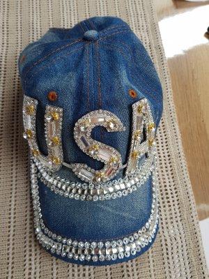 USA Glitzersteine/Jeansmütze