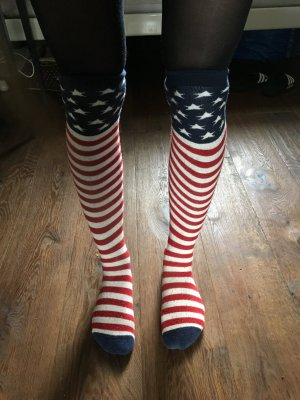USA Stars and stripes Amerika Socken Flagge Festival rocker 39 40 over knee Strümpfe Kniestrümpfe overknees america