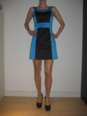 Usco Minikleid schwarz-hellblau Colourblocking Elegant