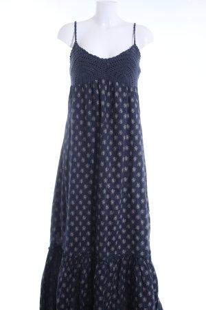 Usha Maxikleid dunkelblau-wollweiß abstraktes Muster Boho-Look