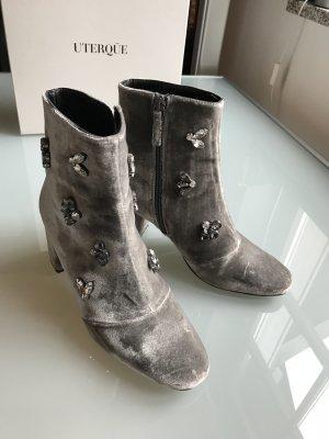 Uterque Boots Stiefeletten Samt mit Glitzersteinen silber grau