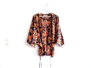 Uterque Kimono Bluse Gr. L 40 100% Seide Uterqüe Grün rot Asia Print gold