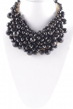 Uterqüe Collar estilo collier negro-color oro elegante