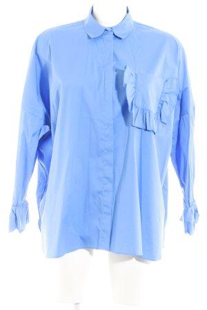 Uterqüe Camicia blusa blu acciaio stile casual