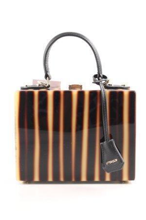 Uterqüe Henkeltasche hellgelb-braunrot Streifenmuster extravaganter Stil