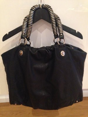 Uterqüe Leder Tasche Shopper Bag Ledertasche Schwarz Gold wie neu