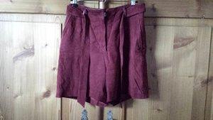 Uterqüe Leather Skirt magenta suede