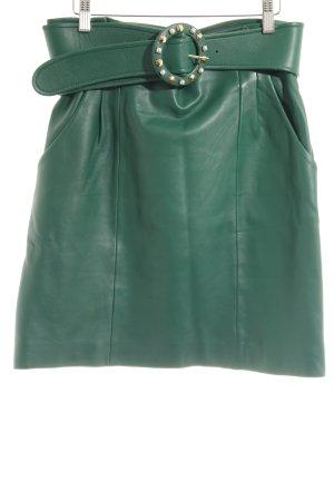 Uterqüe Falda de cuero verde bosque estilo extravagante